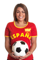 Laughing spanish girl with football