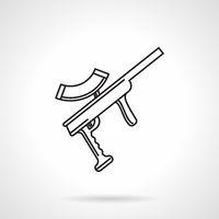 Black line vector icon for paintball gun