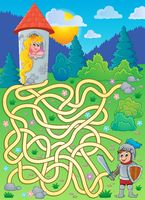 Maze 4 with princess and knight - picture illustration.