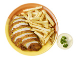 French fries and chicken on the white isolated background