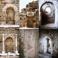 Set of Roman open and immured arch doorways in Side, Turkey