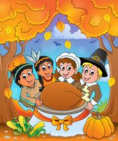 Thanksgiving pilgrim theme 6 - picture illustration.