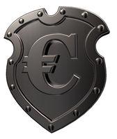 eurosymbol auf metallschild - 3d illustration