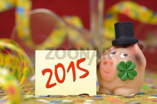 Glücksschwein für Neujahr 2015