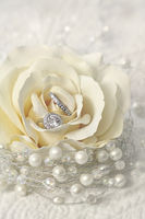 Wedding rings in rose flower