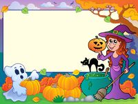 Autumn frame with Halloween theme 6 - picture illustration.