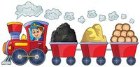 Train with various materials - picture illustration.