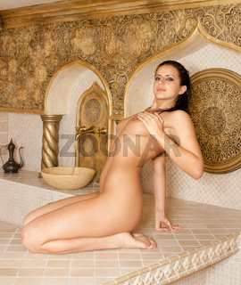 Attractive girl in the Turkish bath