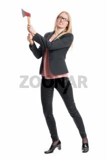 geschäftsfrau mit axt