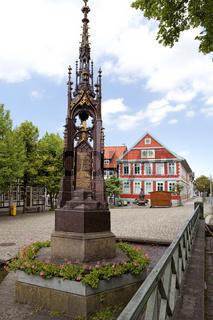 Market place, Alfeld, Old Latin School, Germany