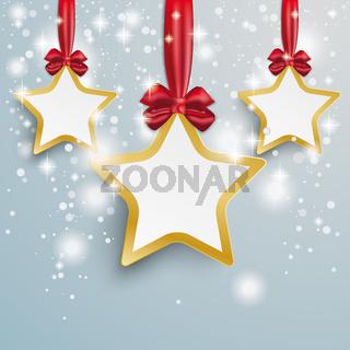 Golden 3 Stars Snow Lights Red Ribbon PiAd