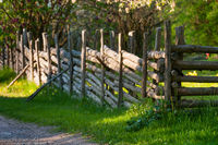 Typical wooden fence in Sweden