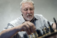 a man playing chess