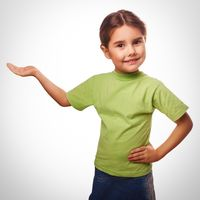 little girl holding an open palm empty hand isolated on white ba