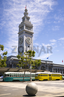 Downtown City Hub Embarcedero Ferry Building Cable Transit Trolley Cars