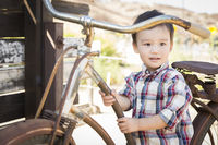 Mixed Race Young Boy Having Fun on the Bicycle