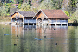 boathouses at lake Kochelsee