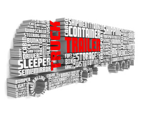 3d words shaping a truck with trailer and shadows on wall