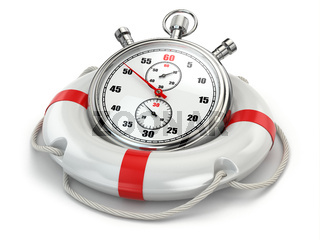 Fast first help. Stopwatch in lifebuoy