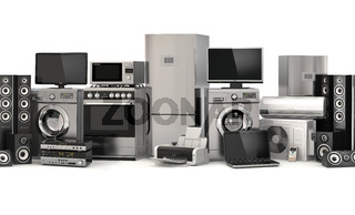 Home appliances.Seamless pattern. Cooker, tv cinema, refrigerator air conditioner microwave, laptop and washing machine.