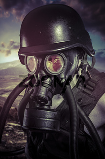 Apocalypse, nuclear disaster, man with gas mask, protection