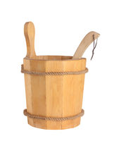 Wooden bucket with ladle for the sauna Isolated on white background