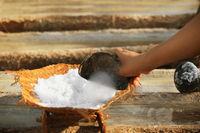 Work on the salt production - traditional method. Bali, Indonesia.