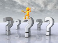 Question Marks with Thinker