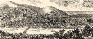 Historical  cityscape, Heidelberg, Germany, 17th Century