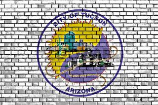 flag of Tucson painted on brick wall
