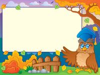 Autumn frame with owl teacher 2 - picture illustration.