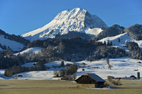 Snow-covered Mt Moléson, near Bulle, Switzerland