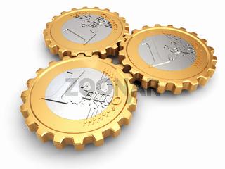 Euro coins as gear. Financial concept.