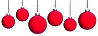 many red Christmas tree balls