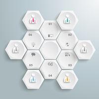 6 White Hexagons Cycle Businessmen PiAd