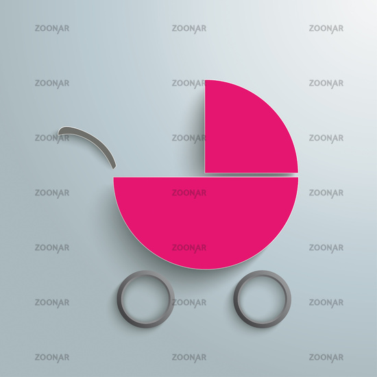 Pink Paper Baby Buggy