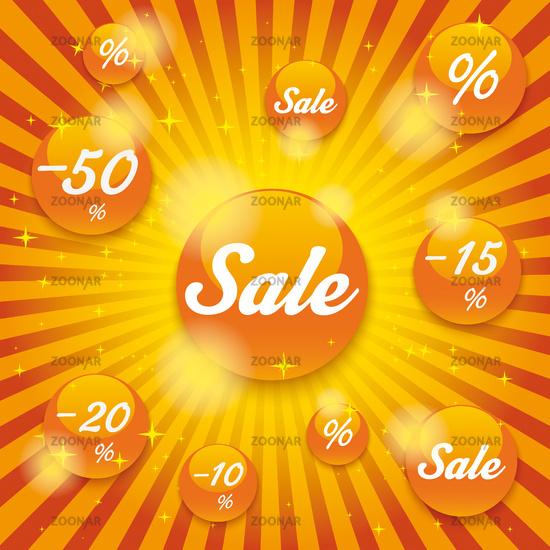 Orange Sale Buttons Retro Background