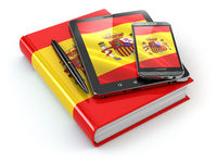 Spanish learning. Mobile devices, smartphone, tablet pc and book .