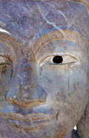 Buddha statue with eye and nose,  Cambodia