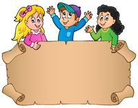 Blank parchment with happy kids - picture illustration.
