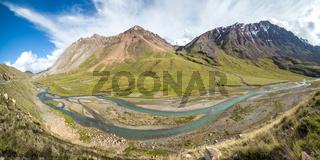 Panorama of twisting river Jil-Suu in Kirgizia