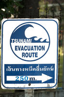 Signpost pointing to a tsunami shelter