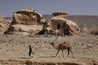 Ein Beduine mit Kamel bei Little Petra in der Felsenstadt Petra bei Wadi Musa im Sueden von Jordanien in Arabien.