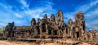 Ancient Khmer architecture. Panorama view of Bayon temple at Angkor Wat complex, Siem Reap, Cambodia