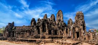 Panorama of Bayon temple at Angkor Wat. Cambodia