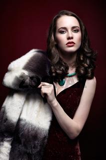 Blonde woman in fur coat