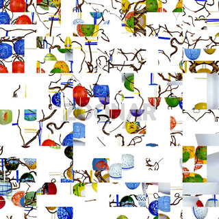 Muster mit Osterdekoration aus verzierten Ostereiern und  Zweigen der Korkenzieherhasel