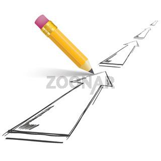 Pencil Shadow Arrows Growth