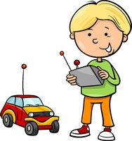 boy and remote car cartoon