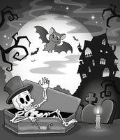 Black and white skeleton theme image - picture illustration.